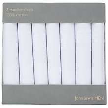 Buy John Lewis Handkerchiefs, Pack of 7, White Online at johnlewis.com
