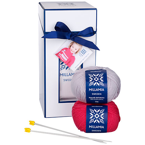 Buy MillaMia Andrea Scarf Knitting Kit, Fuchsia and Putty Online at johnlewis.com