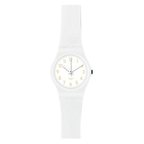 Buy Swatch LW134C Women's Cool Breeze White Round Plastic Strap Watch Online at johnlewis.com