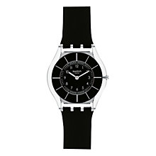Buy Swatch Unisex Round Plastic Strap Watch, Black Online at johnlewis.com