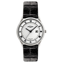 Buy Rotary GS02322/21 Men's Round White Dial Leather Strap Watch, Black Online at johnlewis.com