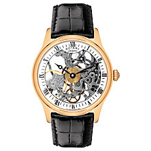 Buy Rotary GS02522/01 Men's Mechanical Skeleton Black Leather Strap Watch Online at johnlewis.com