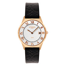 Buy Rotary GS08003/01 Men's Round Black Leather Strap Watch, Rose Gold Online at johnlewis.com