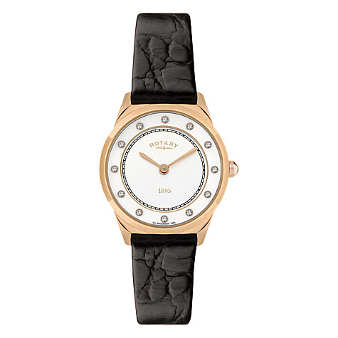 Buy Rotary LS08003/02 Women's Ultra Slim Black Leather Strap Watch Online at johnlewis.com