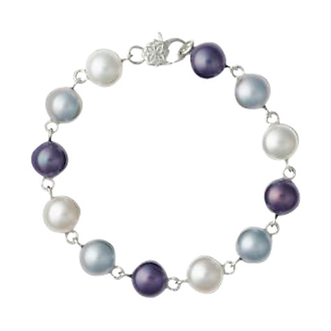 Buy Dower & Hall Sterling Silver Pearl Bracelet, Grey/White Online at johnlewis.com