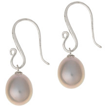 Buy Dower & Hall Sterling Silver Hook Pearl Drop Earrings, Grey Online at johnlewis.com