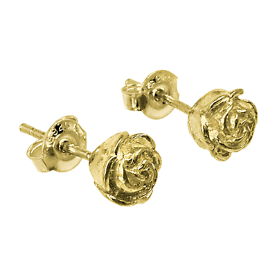 Dower & Hall 18ct Gold Vermeil Medium Rosebud Stud Earrings, Gold