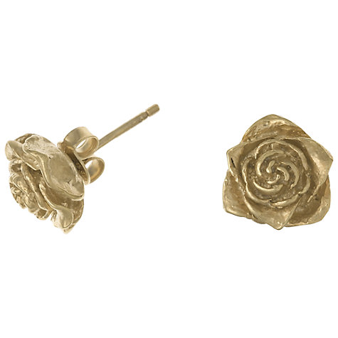 Buy Dower & Hall 18ct Gold Vermeil Rose Stud Earrings, Gold Online at johnlewis.com