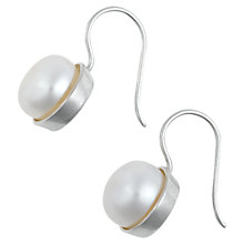 Buy Dower & Hall Sterling Silver Freshwater Pearl Cup Set Hook Earrings Online at johnlewis.com
