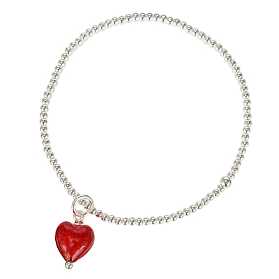 Martick Beaded Ball Bracelet with Murano Glass Heart