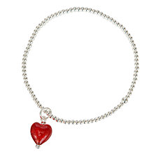 Buy Martick Beaded Ball with Cranberry Glass Heart Bracelet, Silver Online at johnlewis.com