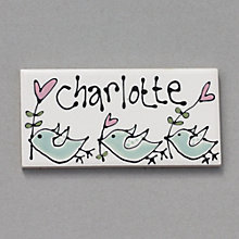Buy Gallery Thea Personalised Room Plaque, Birds Online at johnlewis.com