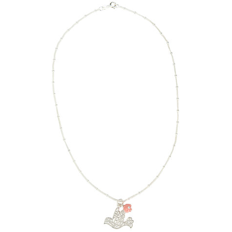 Buy Martick Scroll Dove & Rose Pendant Necklace, Silver/Pink Online at johnlewis.com
