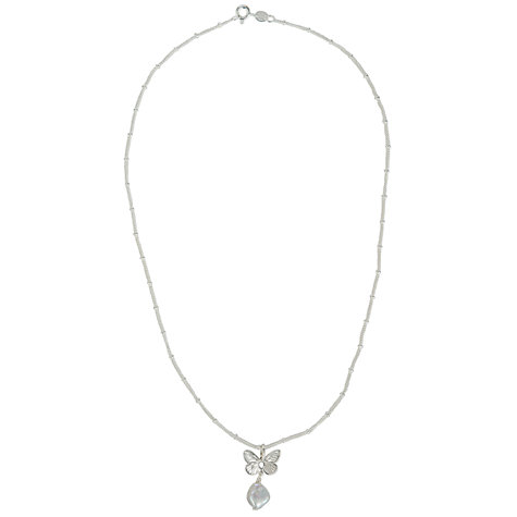 Buy Martick White Pearl & Butterfly Pendant Necklace, Silver Online at johnlewis.com