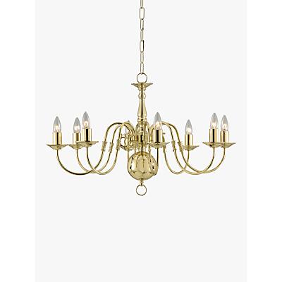 Impex Bruges Chandelier, Polished Brass, 8-Light