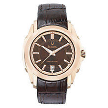 Buy Bulova 97B110 Men's Precisionist Longwood Brown Leather Strap Watch Online at johnlewis.com
