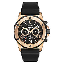 Buy Bulova 98B104 Men's Marine Star Chronograph Black Rubber Strap Watch Online at johnlewis.com
