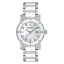Buy Bulova 98P121 Women's Diamond Mother of Pearl Round Dial Bracelet Watch Online at johnlewis.com