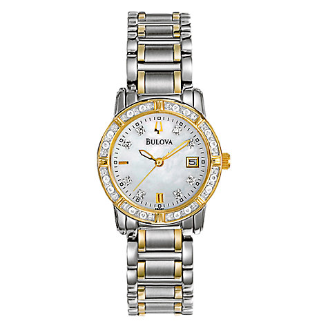 Buy Bulova 98R107 Women's Diamond Mother of Pearl Two-Tone Bracelet Watch Online at johnlewis.com
