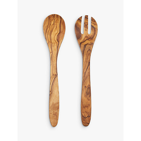 Buy John Lewis Olive Wood Salad Servers, L30cm Online at johnlewis.com