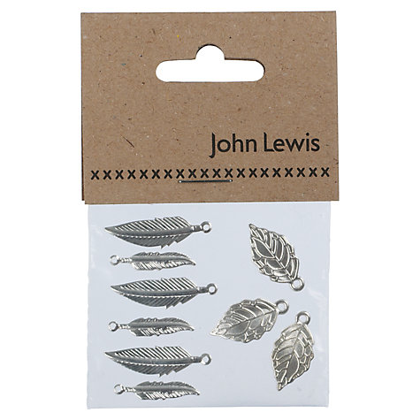 Buy John Lewis Feather and Leaf Charms, Pack of 6, Silver Plated Online at johnlewis.com