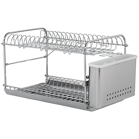 john lewis 2 tier dish and cutlery drainer stainless steel new ebay. Black Bedroom Furniture Sets. Home Design Ideas