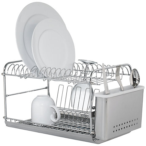 Buy John Lewis 2-Tier Dish and Cutlery Drainer, Stainless Steel Online at johnlewis.com