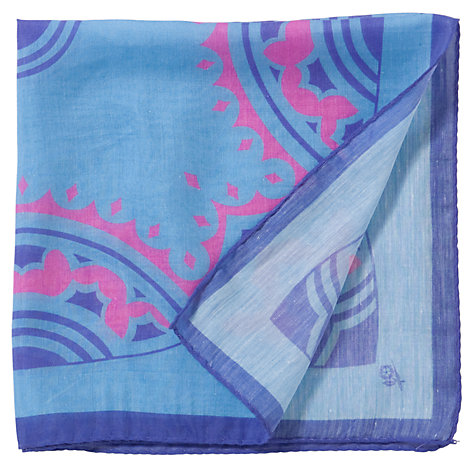 Buy Penrose London Print Pocket Square, Blue/Pink Online at johnlewis.com