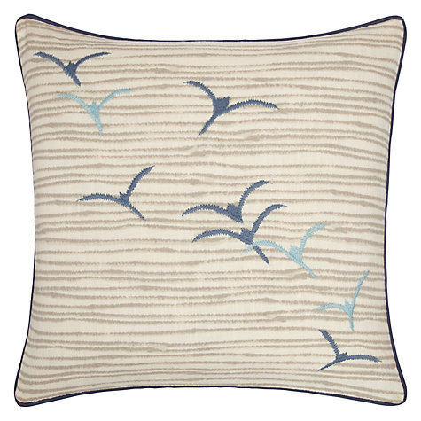 Buy John Lewis Flying Seagulls Embroidered Cushion, Blue Online at johnlewis.com