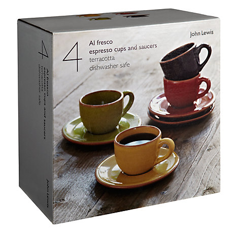 Buy John Lewis Al Fresco Espresso Cups and Saucers, Set of 4, Assorted Online at johnlewis.com