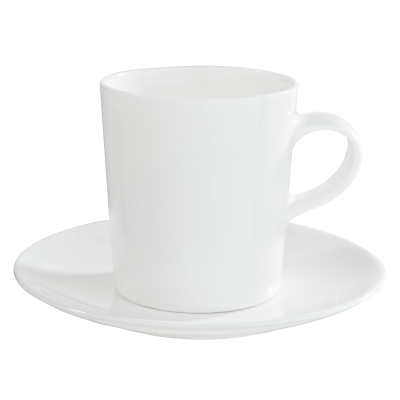 John Lewis Concave Bone China Espresso Cups and Saucers, Set of 4