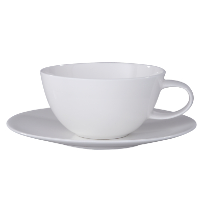 John Lewis Concave Bone China Cup and Saucer, Set of 4