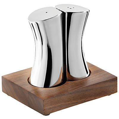 Robert Welch Drift/Rushan Stainless Steel Salt & Pepper Shakers with Walnut Stand