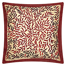 Buy John Lewis Lana Leaves Cushion, Red Online at johnlewis.com