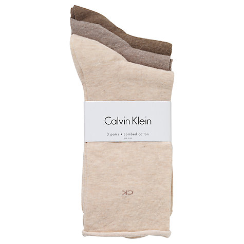 Buy Calvin Klein Roll Top Crew Socks, Oat Online at johnlewis.com