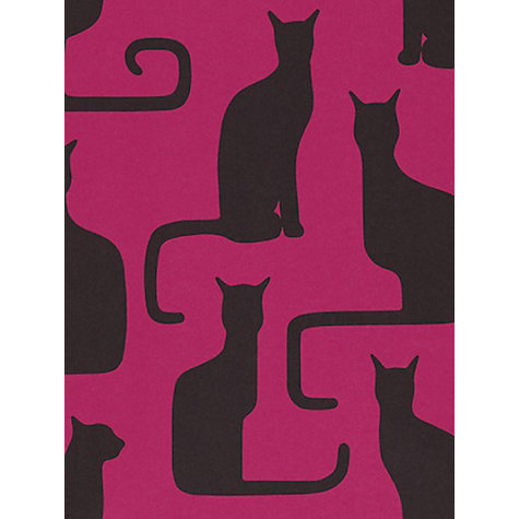 Buy Sanderson Omega Cats Wallpaper, Magenta / Black, 211067 Online at johnlewis.com