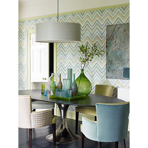 Buy Sanderson Zigzag Wallpaper, Aqua / Chartreuse, 211076 Online at johnlewis.com