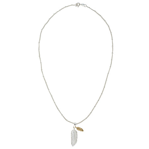 Buy Martick Gold Plated Feather Pendant Necklace, Gold/Silver Online at johnlewis.com