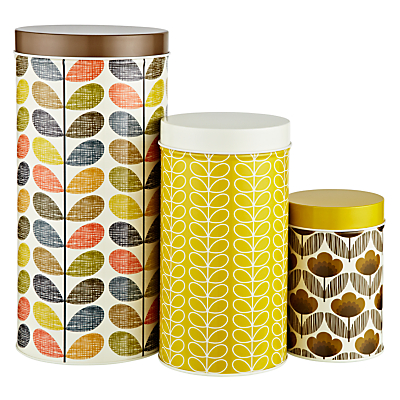 Orla Kiely Multi Stem Kitchen Storage Tins, Set of 3