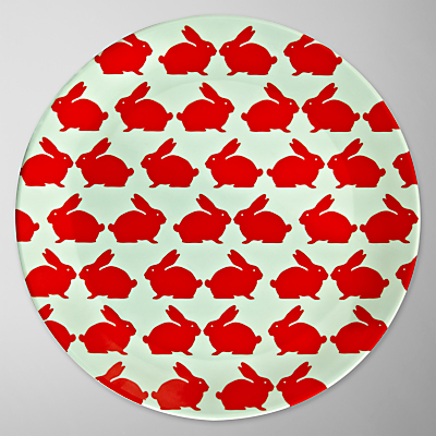 Anorak Kissing Rabbits Dinner Plate