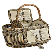 Buy John Lewis Grey Willow Picnic Hamper, Coastal, 4 Person Online at johnlewis.com