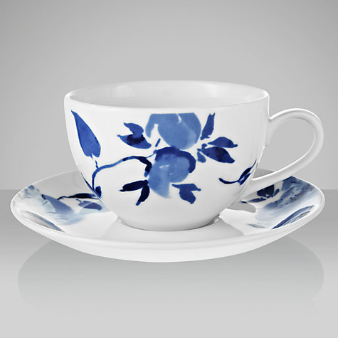 Buy John Lewis Blue Rose Cup and Saucer, 0.3L, White Online at johnlewis.com