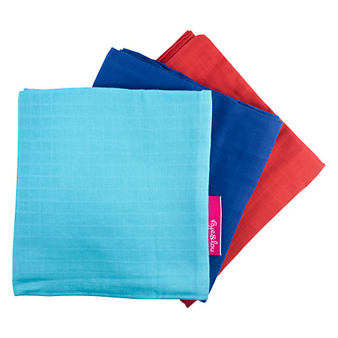 Buy Faye and Lou Cozio Muslin Squares, Blue/Red, Pack of 3 Online at johnlewis.com
