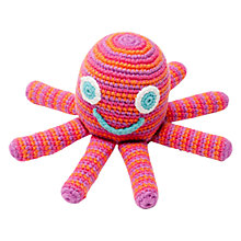 Buy Pebble Fairtrade Cotton Octopus Rattle, Pink Online at johnlewis.com