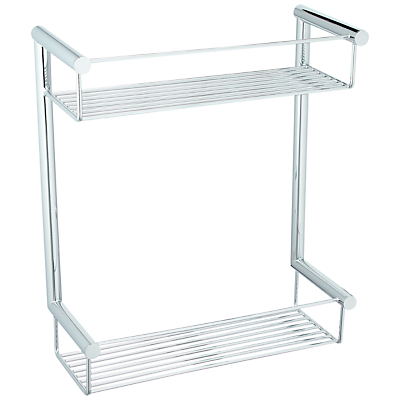 John Lewis Infinity Chrome Plated Brass Double 2 Tier Shower Basket
