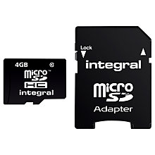 Buy Integral 4GB, Class 10 microSDHC Memory Card Online at johnlewis.com