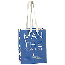 Buy John Lewis Man Of The Moment Gift Bag, Blue, Mini Online at johnlewis.com