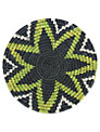 Gone Rural Woven Grass Design Trivets, Set of 2, Black/Lime