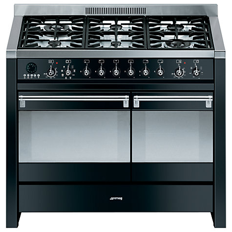 Buy Smeg A2BL-8 Dual Fuel Range Cooker, Black Online at johnlewis.com