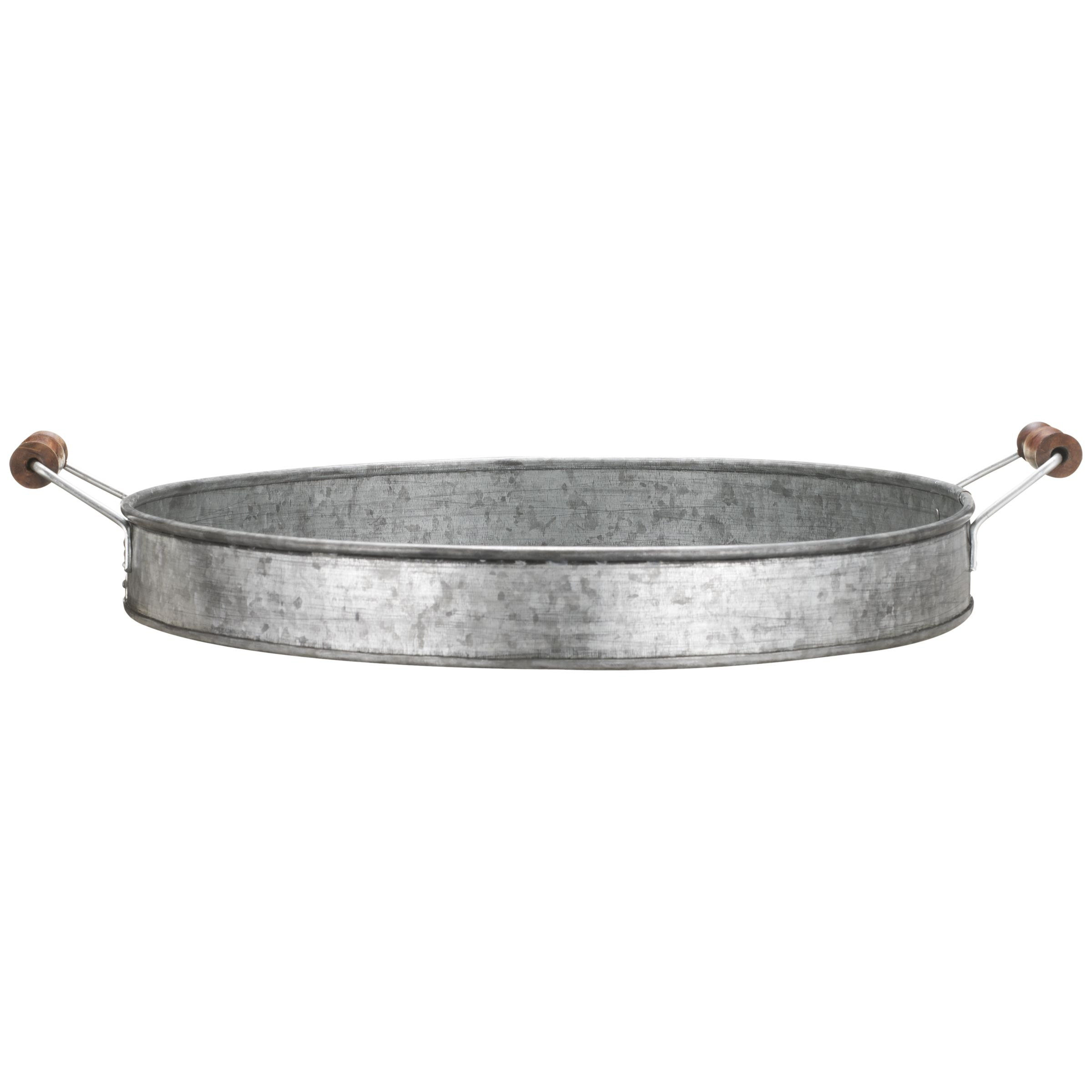 John Lewis Galvanised Tray with Wooden Handles